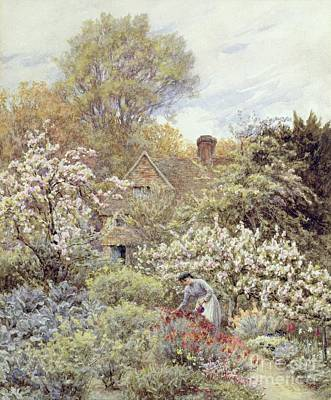 Spring Scenes Painting - A Garden In Spring by Helen Allingham