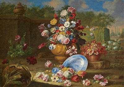 Painting - A Garden Landscape With Carnations Roses Tulips And Other Flowers In Vases An Urn To The Left by Giacomo Nani