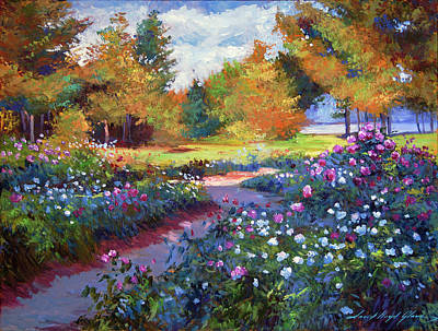 Painting -  A Garden On The Hudson by David Lloyd Glover