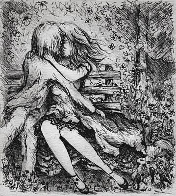 Drawing - A Garden Romance by Rachel Christine Nowicki