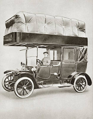 Motorcar Drawing - A Gas-bag Taxi During World War I. Due by Vintage Design Pics