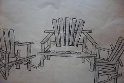 Adirondack Drawing - A Gathering Of Chairs by Rauno Joks