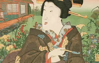 Holding A Flower Painting - A Geisha With A Pipe by Utagawa Kunisada