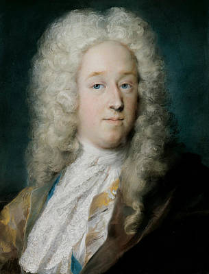 Venetian Art Pastel - A Gentleman In A Gold Patterned Coat And Violet-brown Cape by Rosalba Carriera