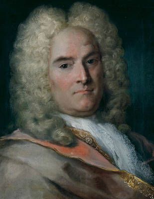 Venetian Art Pastel - A Gentleman In A Gray Cape Over A Gold-embroidered Coat by Rosalba Carriera