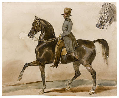 Drawing - A Gentleman On Horseback With A Subsidiary Study Of The Horse's Head by Theodore Gericault