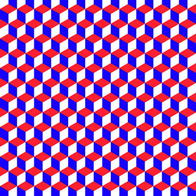 4th July Digital Art - A Geometric Pattern With Cubes That Are The Colors Of The American Flag by Anita Van Den Broek
