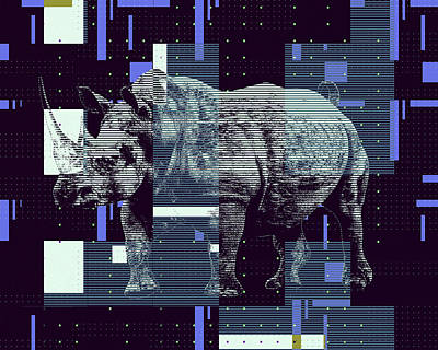 Digital Art - A Geometric Rhinoceros. by Anthony Murphy
