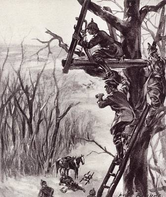 Observation Drawing - A German Artillery Observation Post by Vintage Design Pics