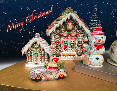 Thomas Kinkade Rights Managed Images - A Gingerbread Christmas with Santa Royalty-Free Image by Bonnie Follett