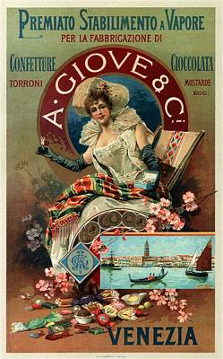 Mixed Media - A Giove And Co - Venezia, Italy - Vintage Chocolate Advertising Poster by Studio Grafiikka