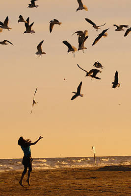 Evening Photograph - A Girl And Seagulls Before The Sunset - Texas by Ellie Teramoto