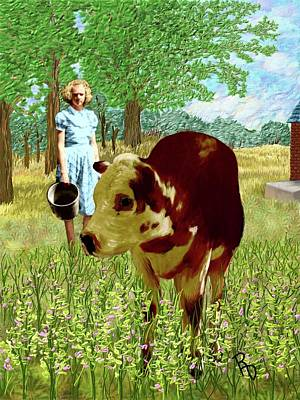 Digital Art - A Girl And Her Cow by Ric Darrell