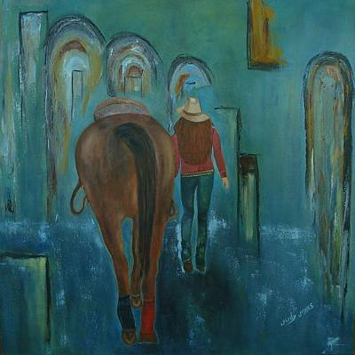 Painting Royalty Free Images - A Girl and Her Horse Royalty-Free Image by Judy Jones