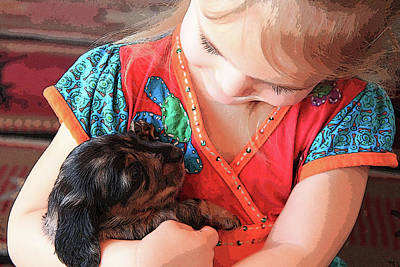 Photograph - A Girl And Her Puppy by Connie Kogler