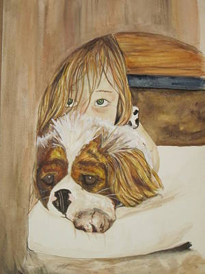 A Girl And Her Puppy Art Print by Tabitha Marshall