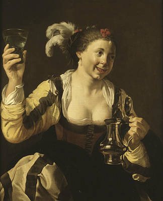 Painting - A Girl Holding A Glass by Hendrick ter Brugghen