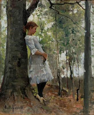 A Girl In The Lush Forest Art Print by MotionAge Designs