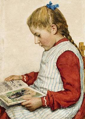 Painting - A Girl Looking At A Book by Celestial Images