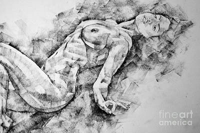 Drawing - A Girl Poses A Lying Posture Close Up Art Drawing by Dimitar Hristov