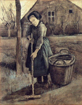 Grate Painting - A Girl Raking, 1881 by Vincent Van Gogh