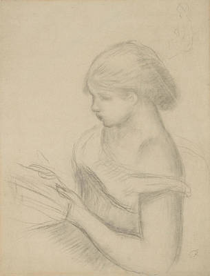 Drawing - A Girl Reading  by Auguste Renoir