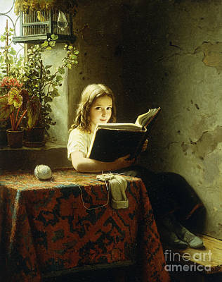 Window Bench Painting - A Girl Reading by Johann Georg Meyer