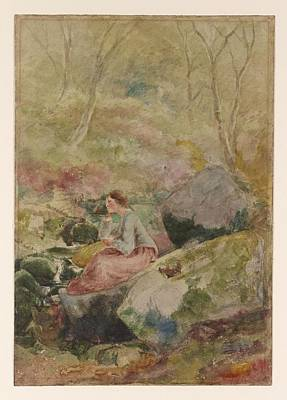 A Girl In A Wood Painting - A Girl Seated On Rocks In A Wood by MotionAge Designs