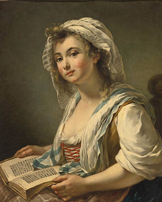 Painting - A Girl, Seated Three-quarter Length, Holding A Book  by Jean-Baptiste Charpentier