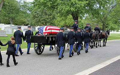 Photograph - A Flag-draped Coffin On A Horse-drawn Caisson by Cora Wandel