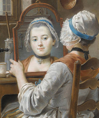 Desk Painting - A Girl Wearing A Bonnet by French School