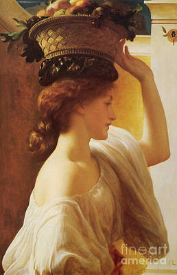 Leighton Painting - a Girl with a Basket of Fruit by Celestial Images