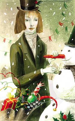 A Girl With A Snowman Original