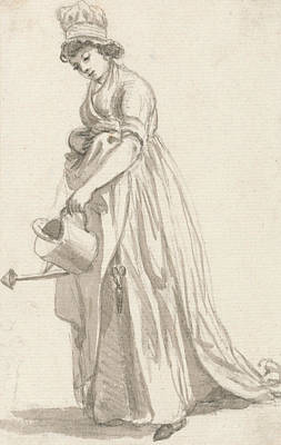 Paul Drawing - A Girl With A Watering Can Facing Left by Paul Sandby