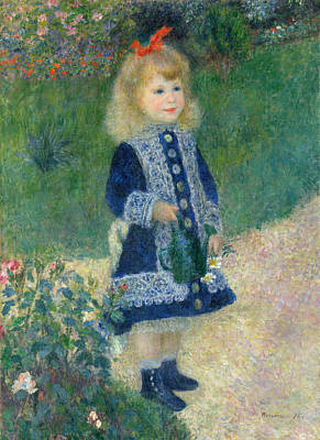 Pierre-auguste Renoir Painting - A Girl With A Watering Can  by Celestial Images