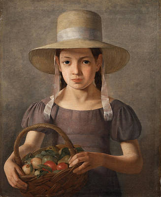 Painting - A Girl With Fruits In A Basket by Constantin Hansen