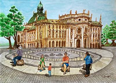 Justice Painting - A Glance Of Fountain Circle In Karlsplatz, Munich by Jo lan Tao