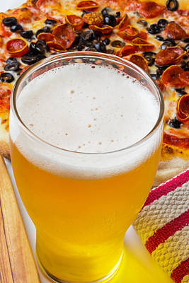 A Glass Of Beer And Pizza Art Print