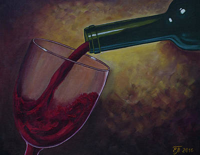 Glass Of Wine Painting - A Glass Of Red Wine. Wine Is Poured From A Bottle Into A Glass. Wine Bottle. Oil Paints. by Elena Pavlova