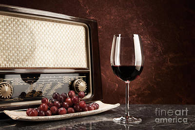 A Glass Of Red Wine With Music From The Radio Art Print by Wolfgang Steiner