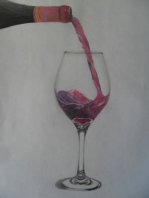 Red Wine Drawing - A Glass Of Wine by Emanuelly Peplinski