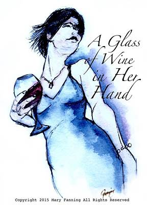 Music Paintings - A Glass of Wine in Her Hand by Mary Fanning