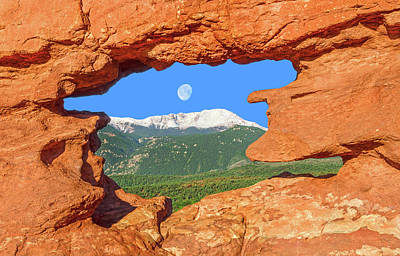 A Glimpse Of The Mighty Rockies Through A Rocky Window  Art Print