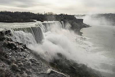 Photograph - A Glossy Silver Day At Niagara Falls New York by Georgia Mizuleva