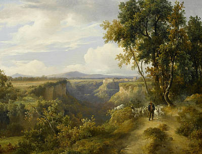 Painting - A Goatherder And His Flock In An Italianate Landscape by Jacques Raymond Brascassat