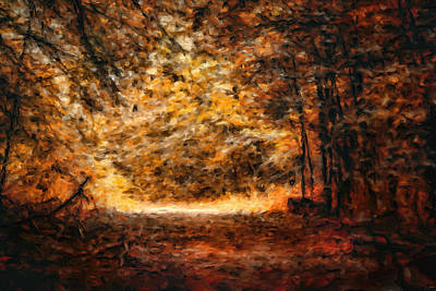 Park Scene Painting - A Golden Journey by Jai Johnson