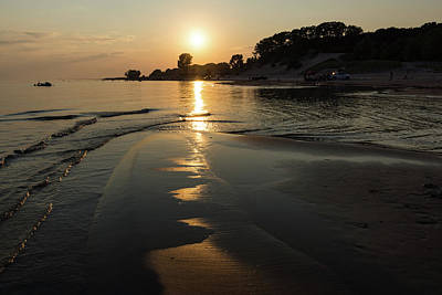 Photograph - A Golden Path To Summer Fun - Lake Erie Beach Sunset by Georgia Mizuleva