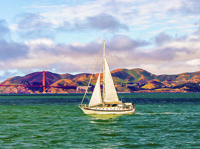 Sausalito Photograph - A Golden Sail by A Dreamer's River