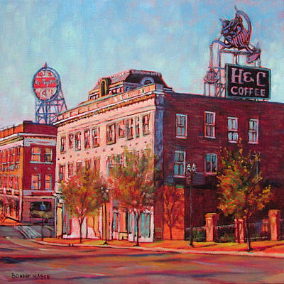 A Good Blend - H And C Coffee Sign And Dr. Pepper Sign In Roanoke Virginia Art Print by Bonnie Mason
