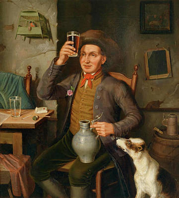 Beer Oil Painting - A Good Drop by Eduard Hermann Lotz